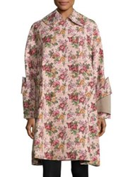 Comme Des Garcons Floral Jacquard Double Breasted Coat Pink Multi