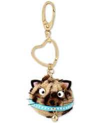 Betsey Johnson Gold Tone Leopard Cat Furry Keychain Brown