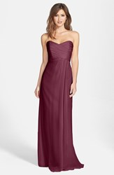 Women's Amsale Strapless Crinkle Chiffon Gown
