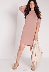 Missguided Plus Size Long Sleeve Bodycon Dress Pink Pink