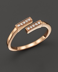 Dana Rebecca Designs 14K Rose Gold And Diamond Double Bar Ring .07 Ct. T.W. Pink White