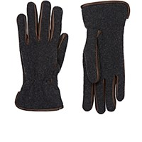 Barneys New York Men's Leather Trimmed Knit Gloves Grey