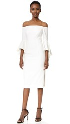 Milly Italian Cady Selena Slit Dress White
