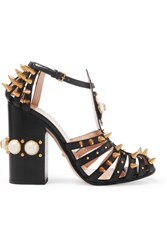 Gucci Embellished Cutout Leather Pumps Black
