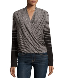 Max Studio Striped Wrap Front Long Sleeve Tee Black Ivor