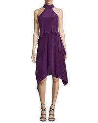 Cnc Costume National Halter Neck Tiered A Line Dress Purple Women's