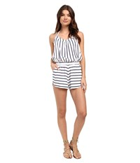 Roxy Keep Cool Romper Cover Up Essential Stripe Combo Seaspray Women's Jumpsuit And Rompers One Piece White