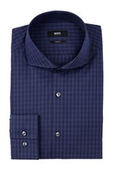 Hugo Boss Dwayne Long Sleeve Check Print Slim Fit Dress Shirt Blue