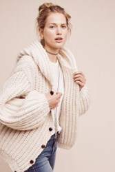 Anthropologie Hooded And Cabled Cardigan Ivory
