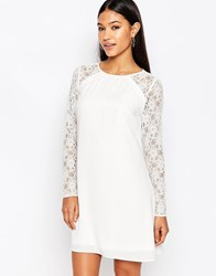 Lipsy A Line Swing Dress With Lace Sleeve Cream