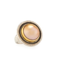 Gurhan Mixed Metal And Gold Mabe Pearl Ring Size 6.5
