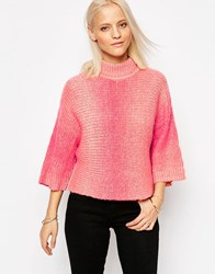 Only Gradient High Neck Pull Over Jumper Rose Smoke Pink