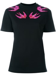 Mcq By Alexander Mcqueen Embroidered Swallow T Shirt Black