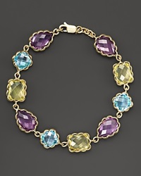 Bloomingdale's Amethyst Blue Topaz And Green Quartz Bracelet In 14K Yellow Gold Gold Multi