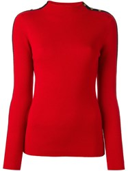 Tory Burch 'Sardy' Stripe Detail Sweater Red