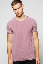 Boohoo Neck Burnout T Shirt Burgundy