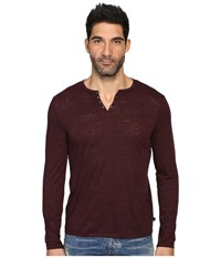 John Varvatos Long Sleeve Eyelet Knit Henley W Vertical Pickstitch Details K2077s3b Oxblood Men's Clothing Red