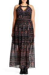 City Chic Plus Size Women's So Abstract Cutout Bodice Maxi Dress