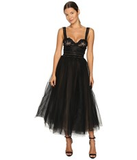 Marchesa Tea Length Flared Cocktail With Beaded Lace Bustier Wide Shoulder Straps And Textured Ruffle Embroidery Black Women's Dress