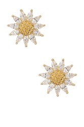 18K Yellow Gold Plated Sterling Silver Cz Sunflower Stud Earrings