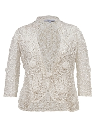 Chesca Lace Jacket With Cornelli Trim Ivory