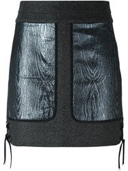 Diesel Black Gold Metallic Patch Skirt Grey