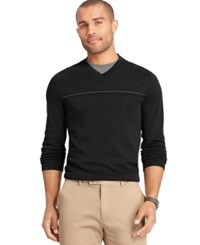 Van Heusen Interlock Stripe V Neck Sweater Grey Gargoyle