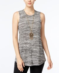 Amy Byer Bcx Juniors' Space Dyed Tank Top With Necklace Black