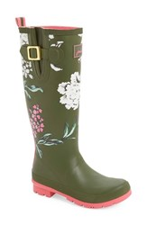 Joules Women's 'Welly' Print Rain Boot Grape Leaf Floral