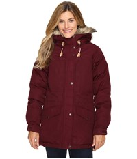 Fjall Raven Singi Down Jacket Dark Garnet Women's Coat Tan