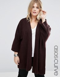 Asos Curve Cardigan In Oversized Shape Chocolate Brown