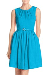 Ellen Tracy Women's 'Kenya' Fit And Flare Dress Turquoise