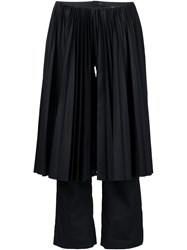 Facetasm Pleated Overlayer Cropped Trousers Black