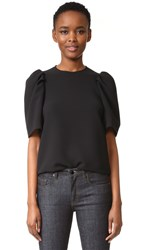 Victoria Beckham Gathered Sleeve Top Black