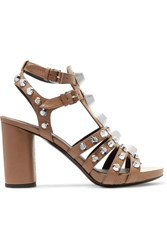 Balenciaga Studded Leather Sandals Brown