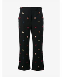 Alexander Mcqueen Obsession Fil Coupe Cropped Trousers Black Multi Coloured