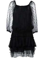 Chloe Embroidered Tiered Dress Black
