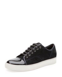 Suede And Patent Leather Low Top Sneaker Navy Lanvin