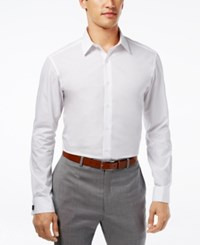 Alfani Red Fitted Solid Performance French Cuff Shirt White
