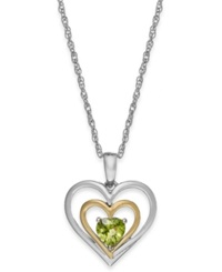 Macy's Peridot Heart Pendant Necklace In 14K Gold And Sterling Silver 1 2 Ct. T.W.