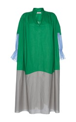 Vika Gazinskaya Color Block Long Dress Green Grey Blue