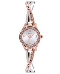 Style And Co. Women's Two Tone Criss Cross Bangle Bracelet Watch 24Mm Sc1453 Slv Rose