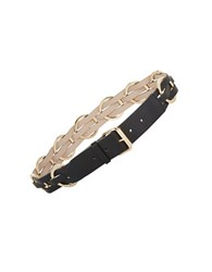 Bcbgmaxazria Braided Faux Leather Belt Black Gold
