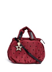 See By Chloe 'Joy Rider' Flocked Polka Dot Nylon Shoulder Bag Red