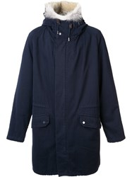 Yves Salomon Trim Detail Hooded Coat Blue