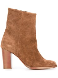 Closed Chunky Heel Ankle Boots Brown