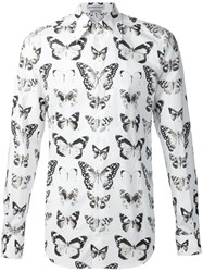 Alexander Mcqueen Butterfly And Moth Print Shirt White