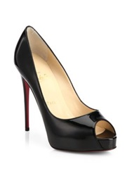 Christian Louboutin New Very Prive Patent Leather Peep Toe Pumps Pink Black Nude