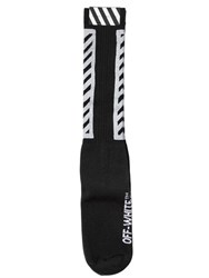 Off White Brushed Stripes Cotton Knit Socks
