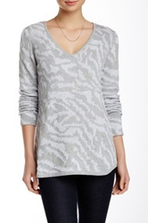 Cullen Slouchy Tiger V Neck Sweater Gray